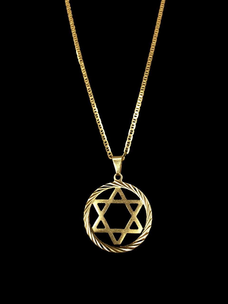 Kit Corrente piastrine - 2 milímetros -   70 centímetros  -  Com Pingente estrela de Davi   Banhados a Ouro 18k
