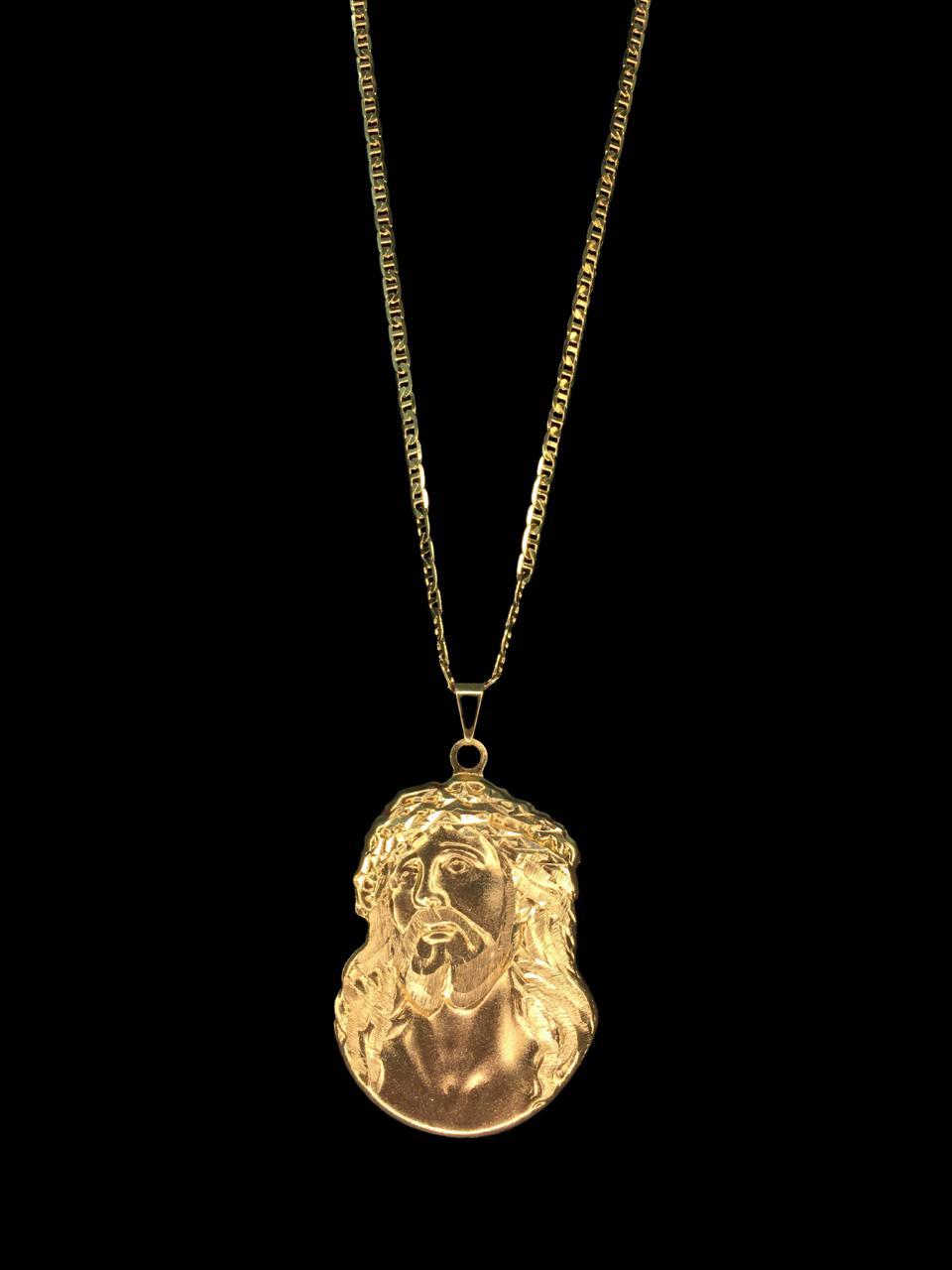 Kit Corrente piastrine - 2 milímetros -   70 centímetros  -  Com Pingente face de Jesus Cristo   Banhados a Ouro 18k