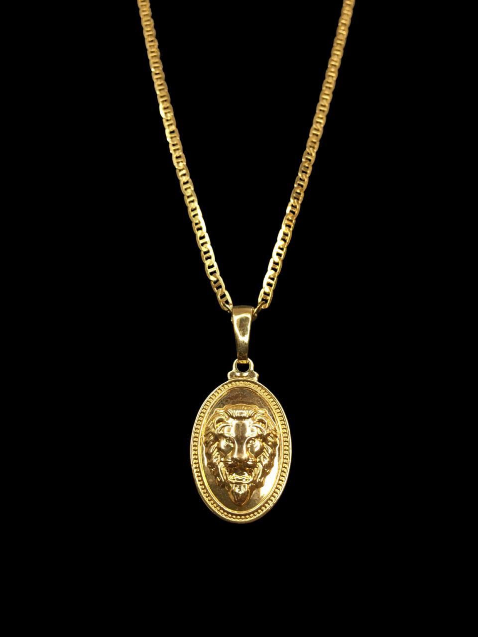 Kit Corrente piastrine - 2 milímetros -   70 centímetros  -  Com Pingente leão da tribo de Judá  Banhados a Ouro 18k