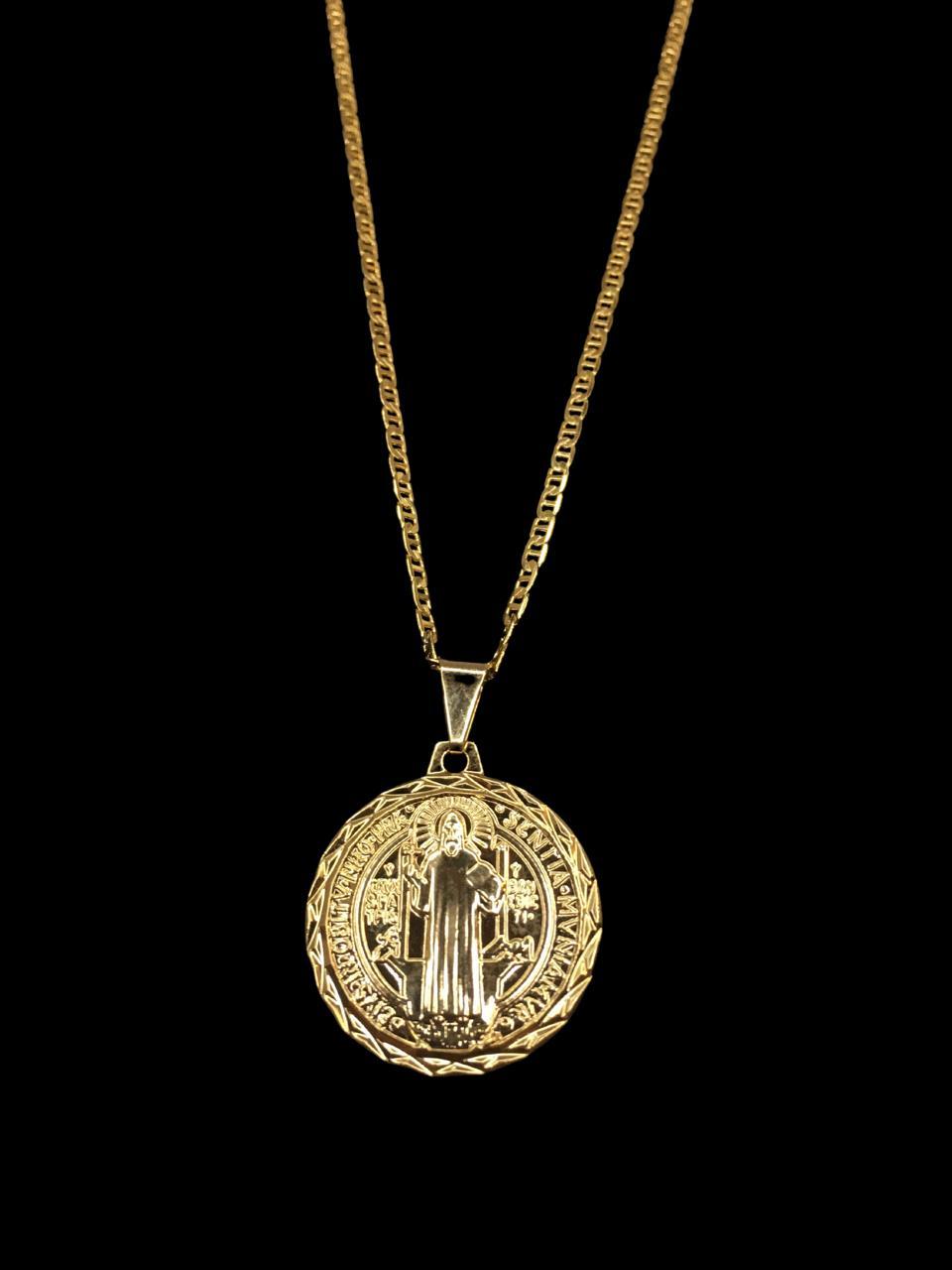 Kit Corrente piastrine - 2 milímetros -   70 centímetros  -  Com Pingente São Bento    Banhados a Ouro 18k