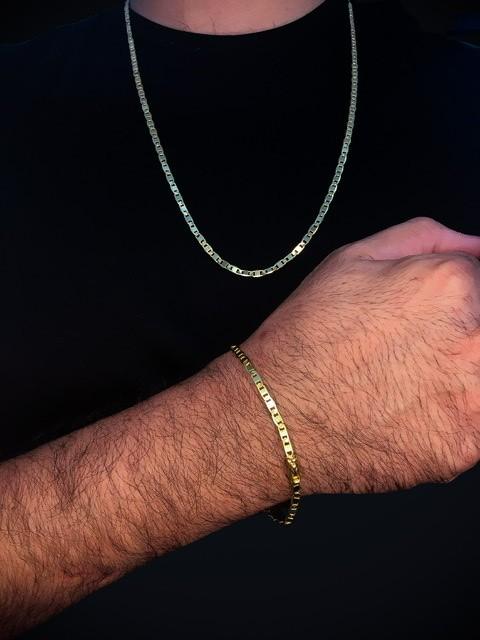 Kit Corrente Piastrine -  4 milímetros   70 centímetros  Com Pulseira Piastrine -  4 milímetros   22 centímetros  Banhados a Ouro 18k