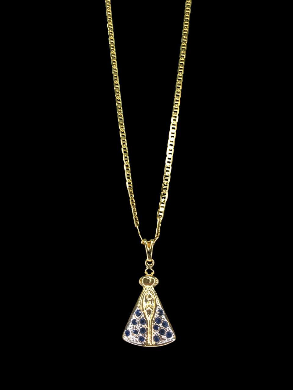Kit Corrente Piastrine de 2 milímetros  70 centímetros  Com Pingente Nossa senhora de aparecida cravejada -  Banhados a Ouro 18k