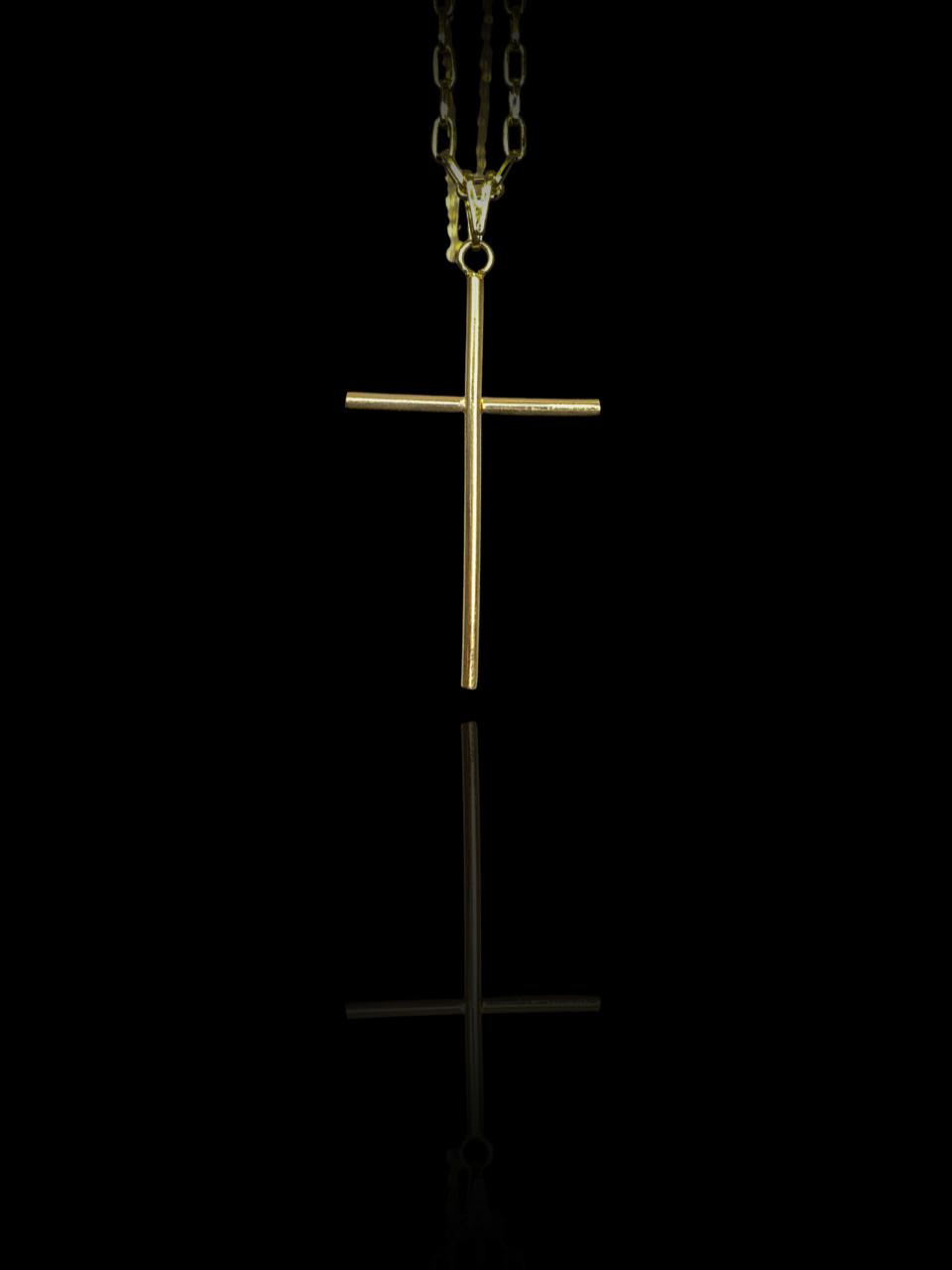 Pingente cruz palito banhado a ouro 18k