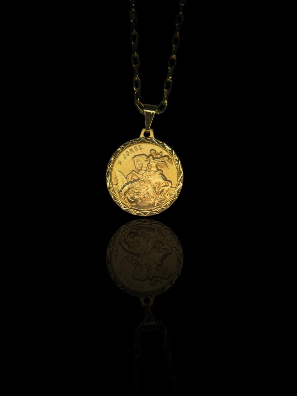 Pingente medalha São Jorge  banhado a ouro 18k