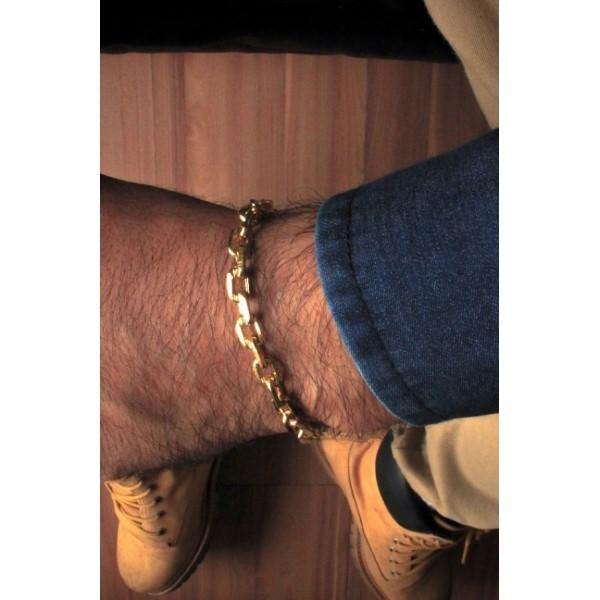 Pulseira Cartie -  6 milímetros - 22 Centímetros - fecho gaveta trava dupla - Banhado a ouro 18 k