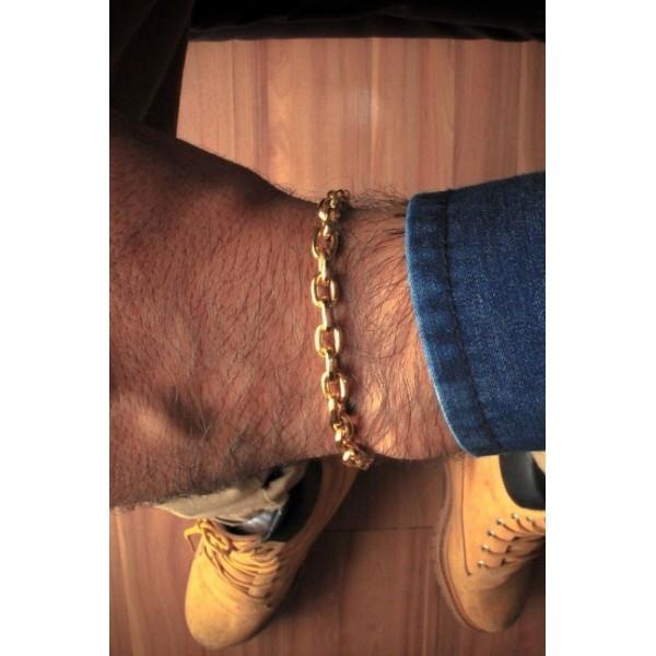 Pulseira Cartie -  7 milímetros - 22 Centímetros - fecho canhão  - Banhado a ouro 18 k