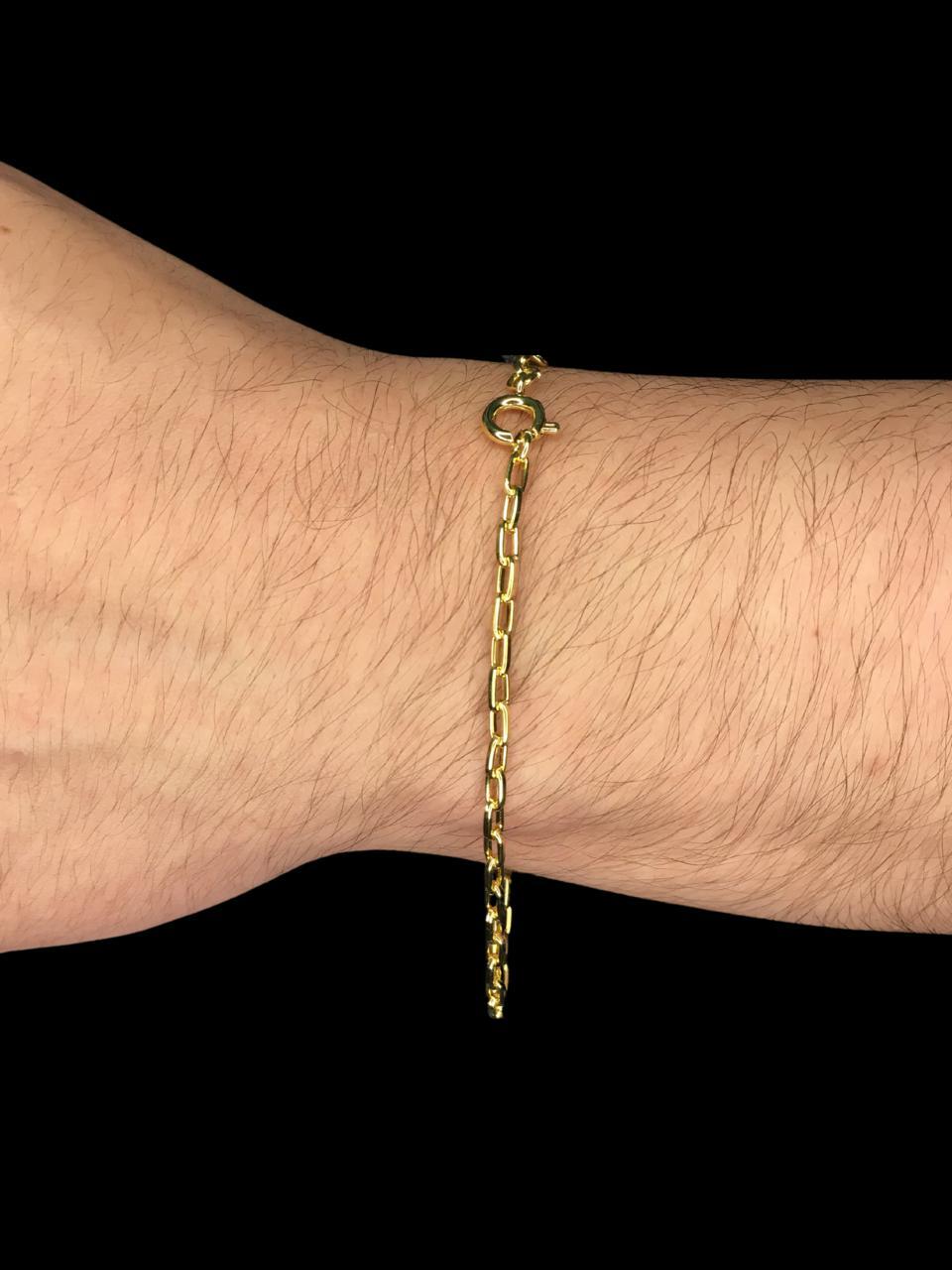 Pulseira Cartie -  2 milímetros  - 22 Centímetros - fecho bóia - Banhado a ouro 18 k