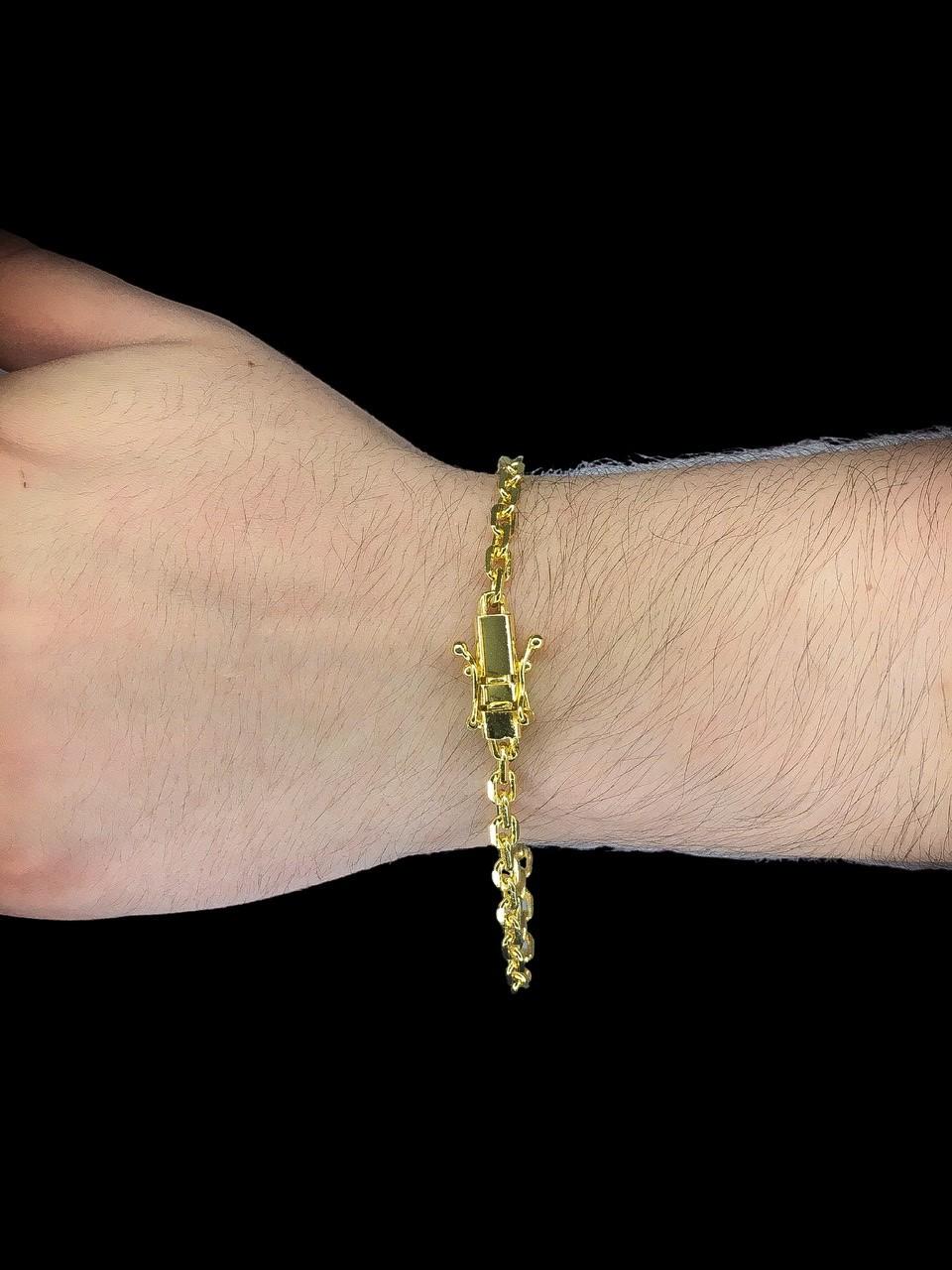Pulseira Cartie -  3 milímetros - 22 Centímetros - fecho Gaveta trava dupla  - Banhado a ouro 18 k