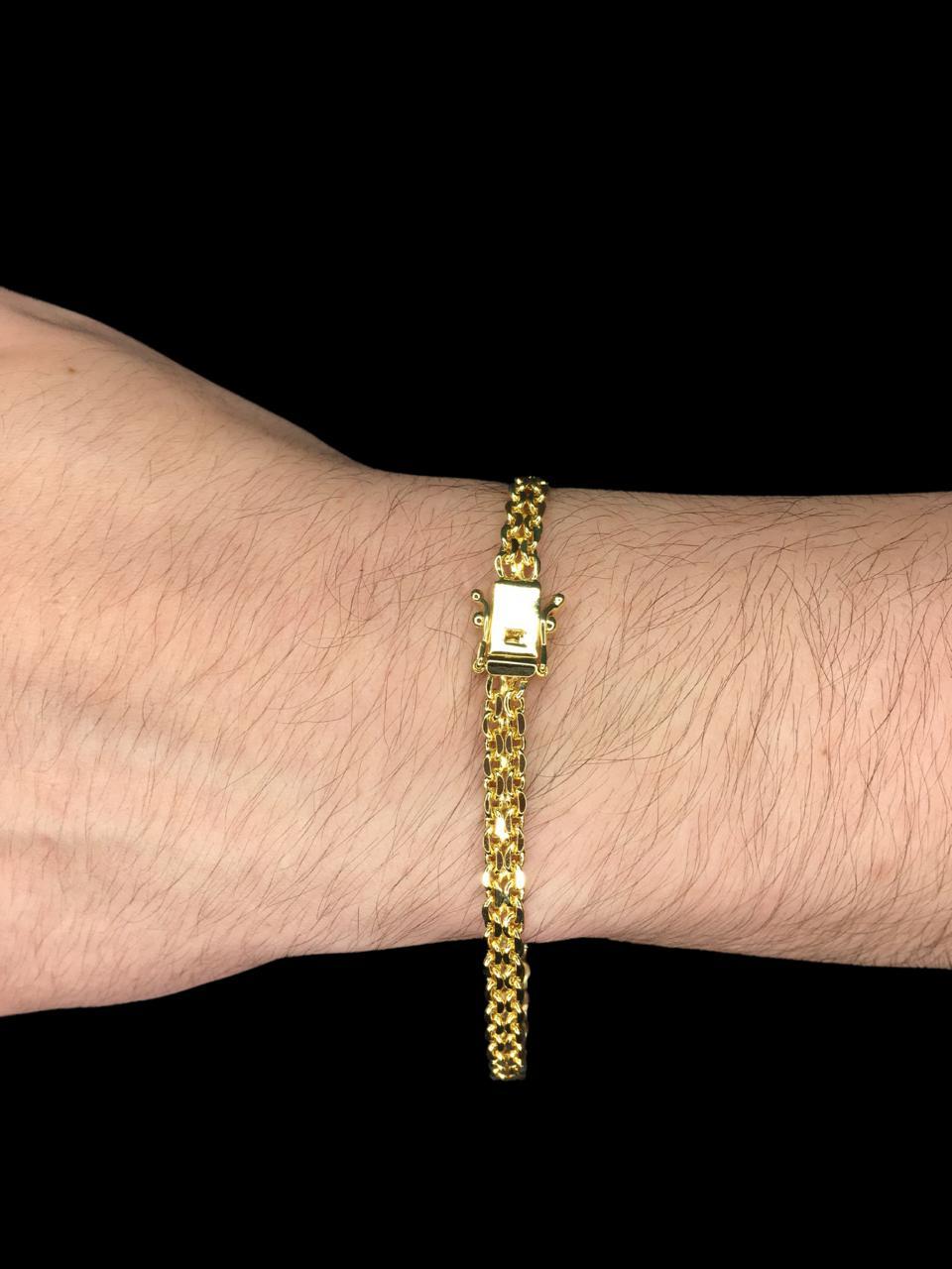 Pulseira Cartie - malha dupla -  5 milímetros - 22 Centímetros - fecho gaveta - Banhado a ouro 18 k