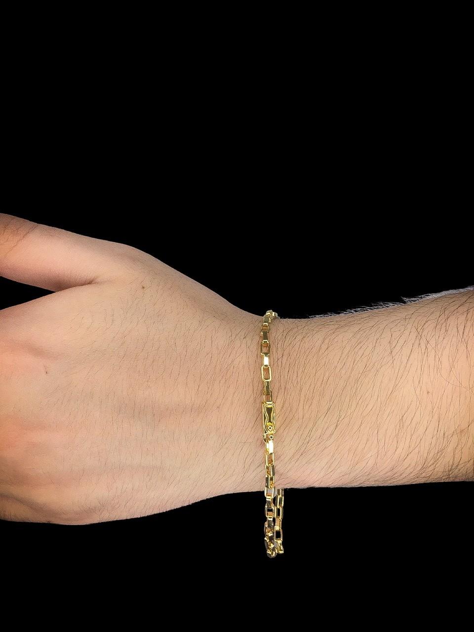 Pulseira Cartie tijolinho  -  3 milímetros - 22 Centímetros - fecho Gaveta - Banhado a ouro 18 k