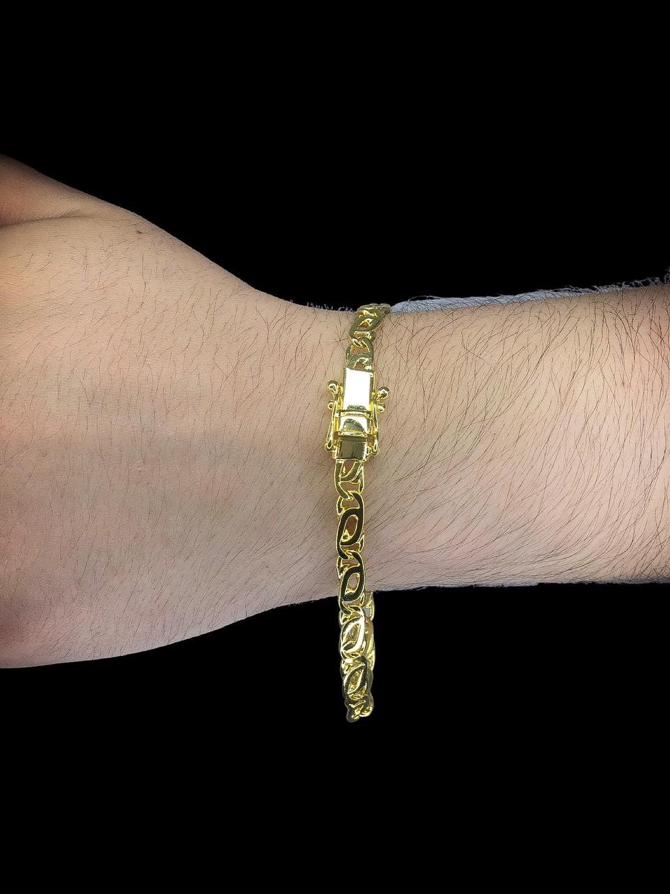 Pulseira elo oitinho -  6 milímetros - 22 Centímetros - fecho gaveta trava dupla - Banhado a ouro 18 k