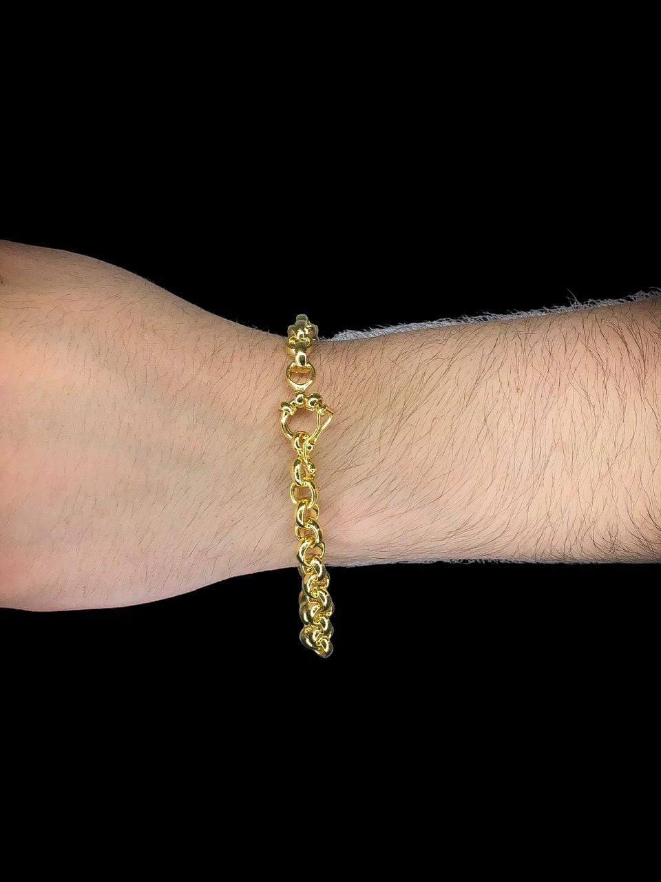 Pulseira elo Português -  6 milímetros - 22 Centímetros - fecho bóia - Banhado a ouro 18 k