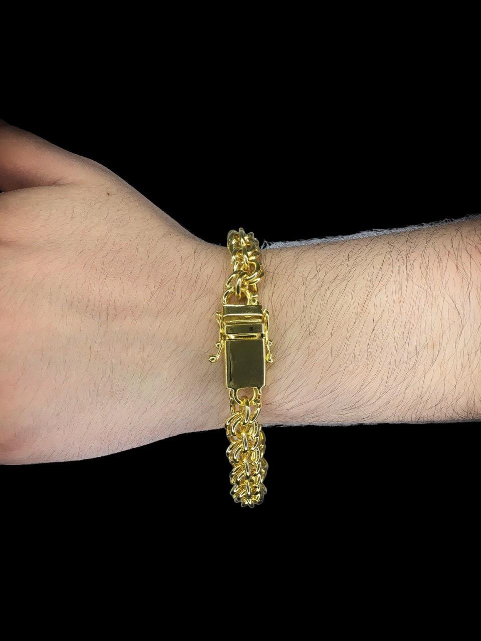 Pulseira friso duplo  -  9 milímetros - 22 Centímetros - fecho gaveta trava dupla - Banhado a ouro 18 k