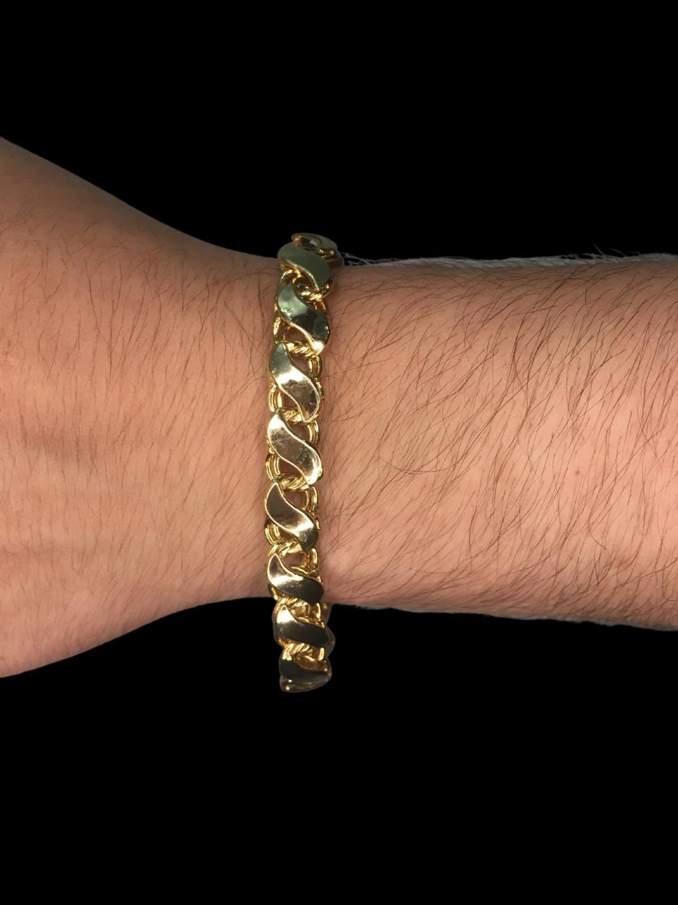 Pulseira friso S   -  9 milímetros - 22 Centímetros - fecho Gaveta - Banhado a ouro 18 k