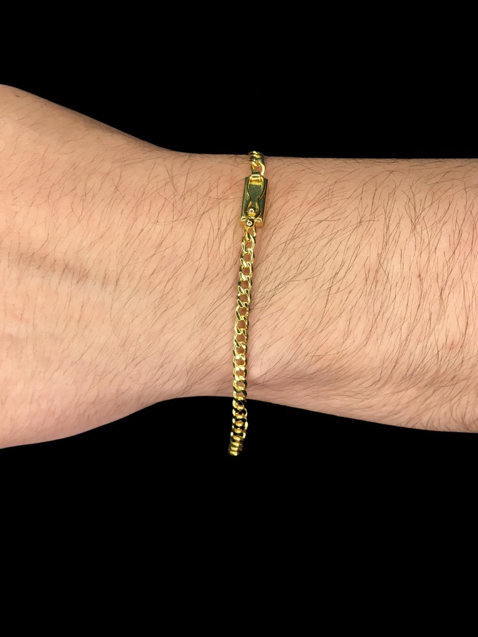 Pulseira grumet -  3 milímetros - 22 Centímetros - fecho Gaveta - Banhado a ouro 18 k
