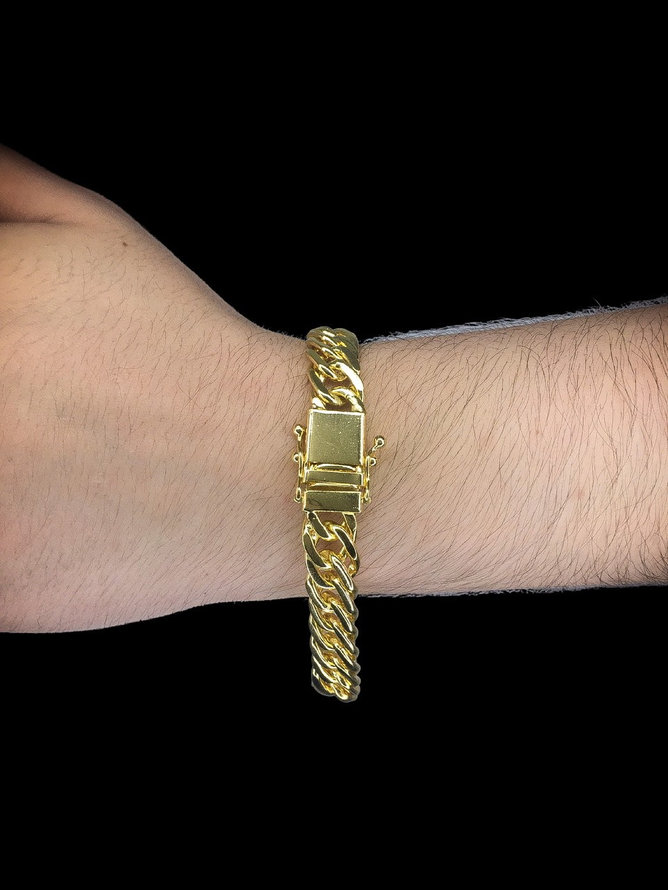 Pulseira Grumet dupla -  10  milímetros - 22 Centímetros - fecho gaveta trava dupla - Banhado a ouro 18 k