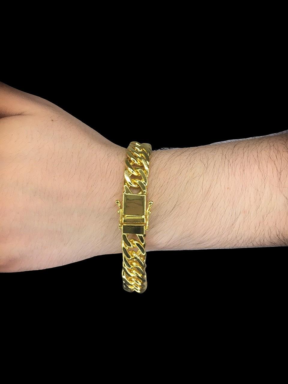 Pulseira Grumet dupla -  13 milímetros - 22 Centímetros - fecho gaveta trava dupla - Banhado a ouro 18 k