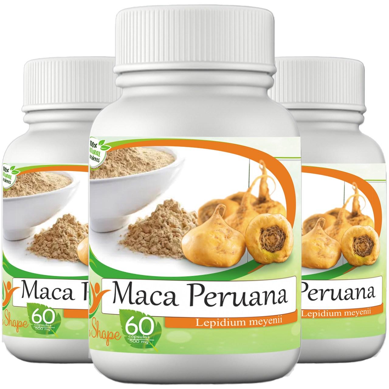 3 frascos de Maca Peruana 60 cápsulas cada frasco