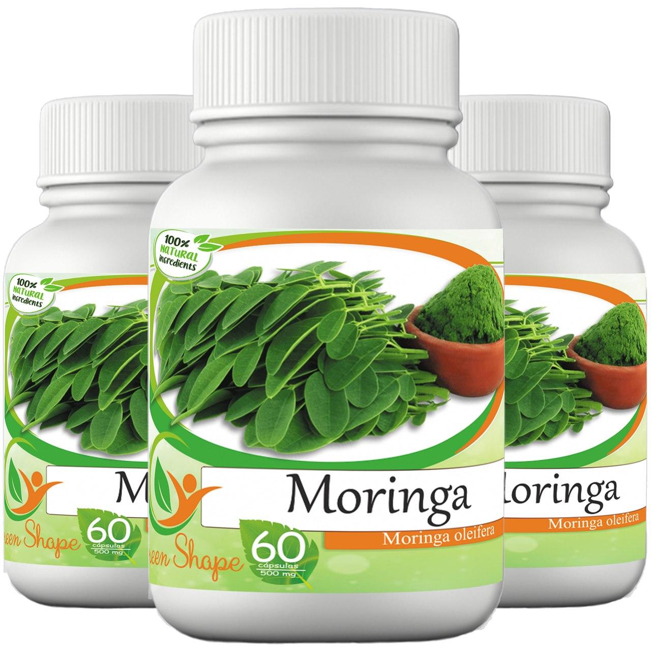 3 frascos de Moringa 60 cápsulas cada frasco