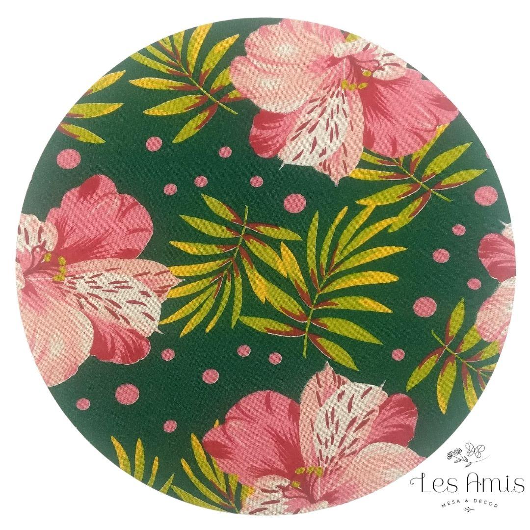 Capa Sousplat Chitão Hibisco Rosa c/ Verde