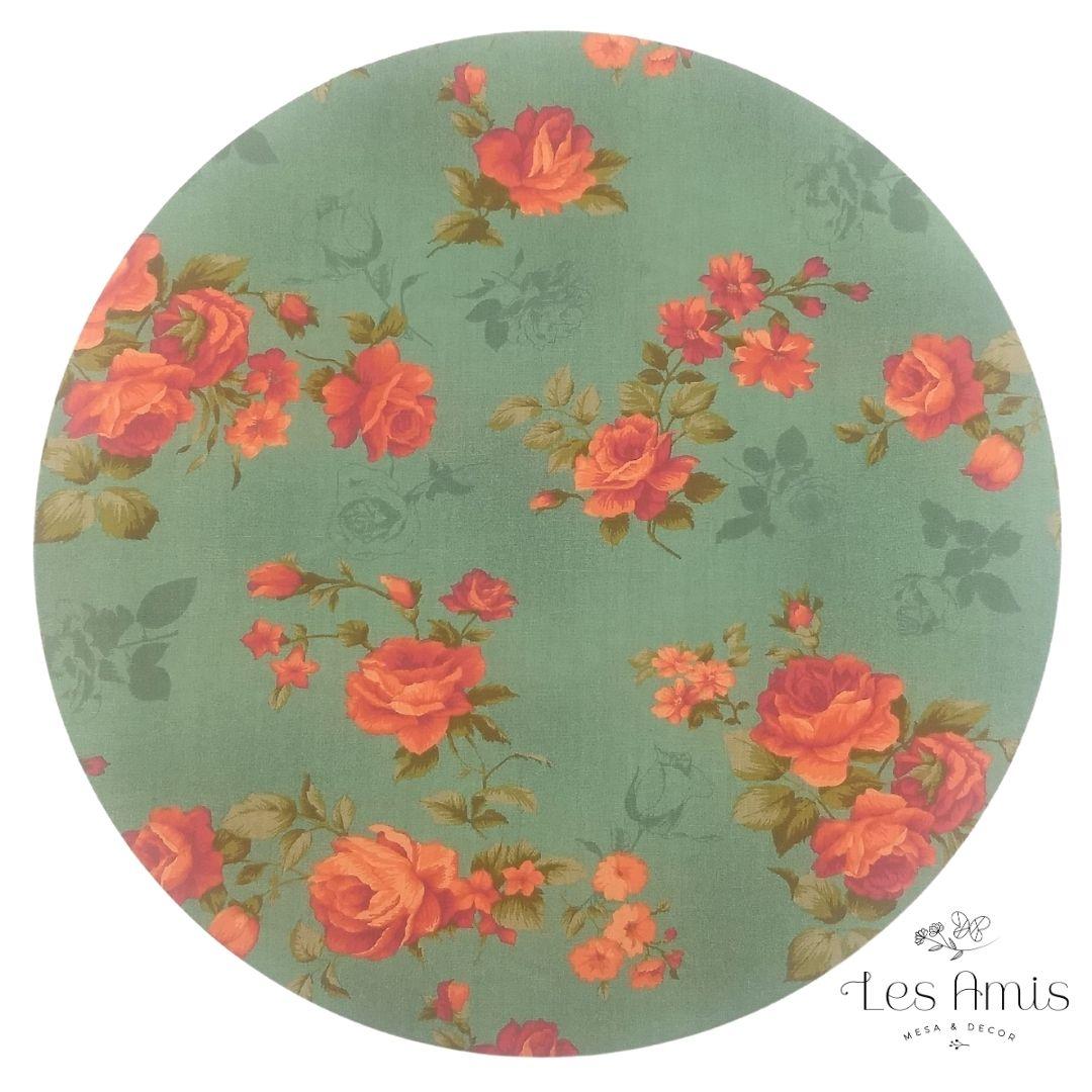 Capa Sousplat Floral Laranja e Musgo