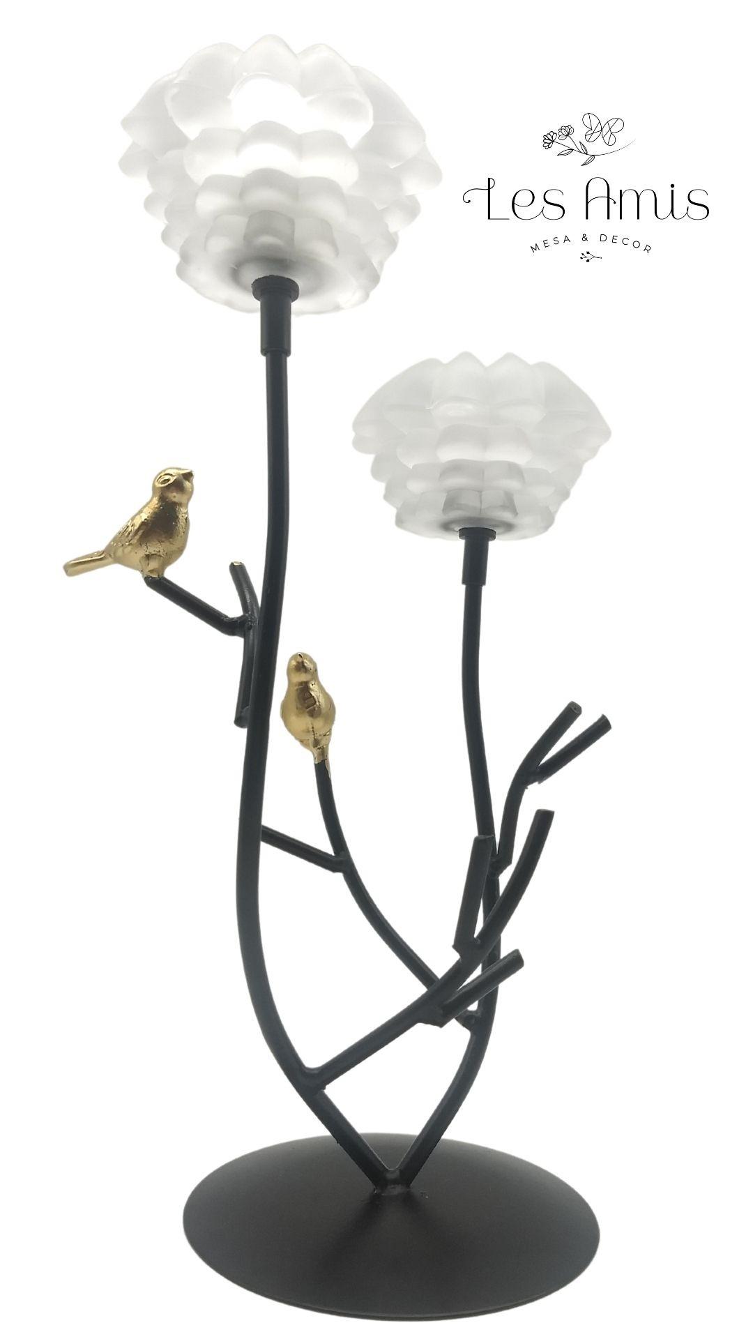 Castiçal Duplo Galho c/ Pássaros