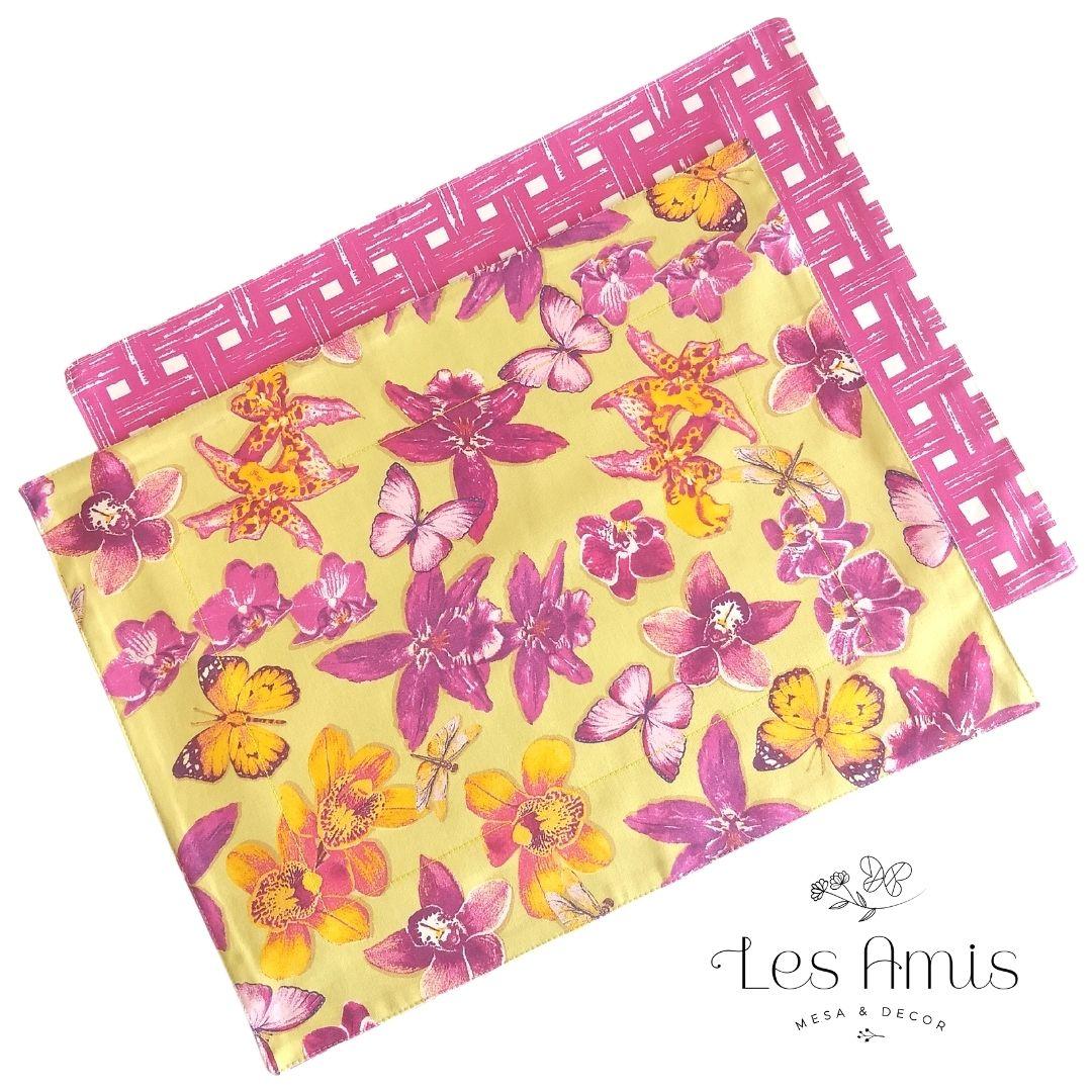 Jogo Americano Easy Clean Orquídeas Fundo Amarelo