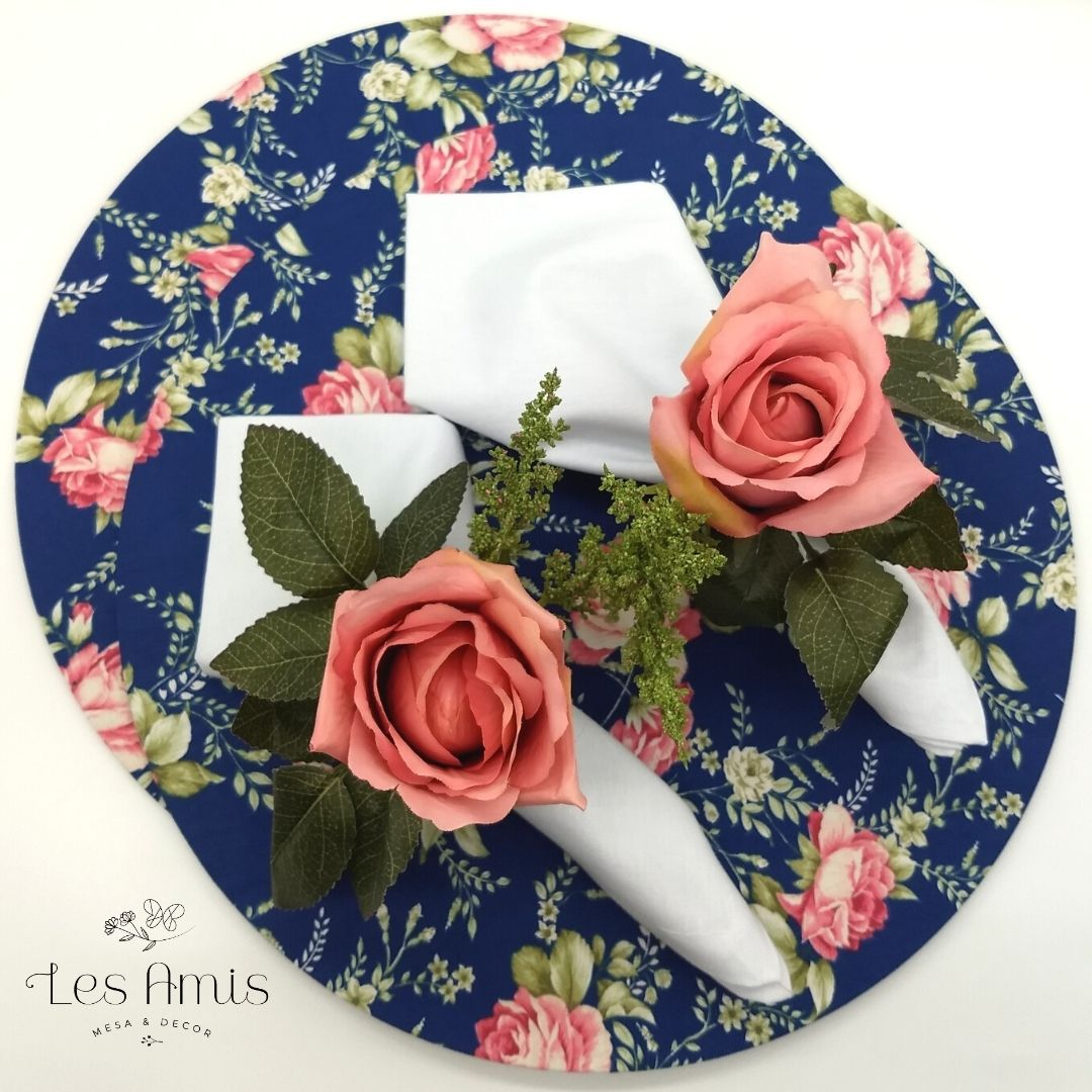 Kit 2 Lugares Floral Rosa c/ Azul