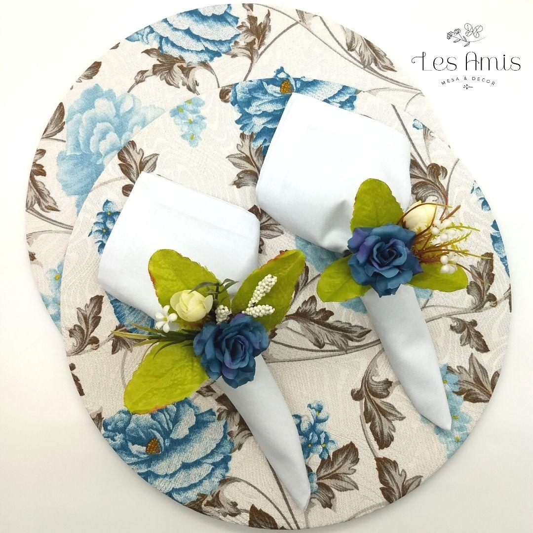 Kit 2 Lugares Jacquard Floral Azul