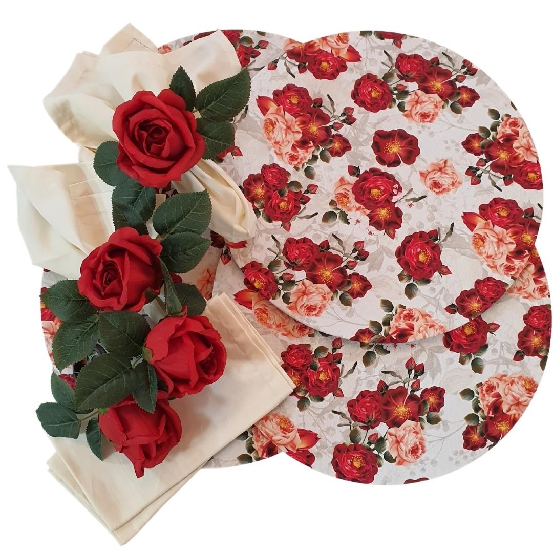 Kit 4 Lugares Sousplat Floral Vermelho