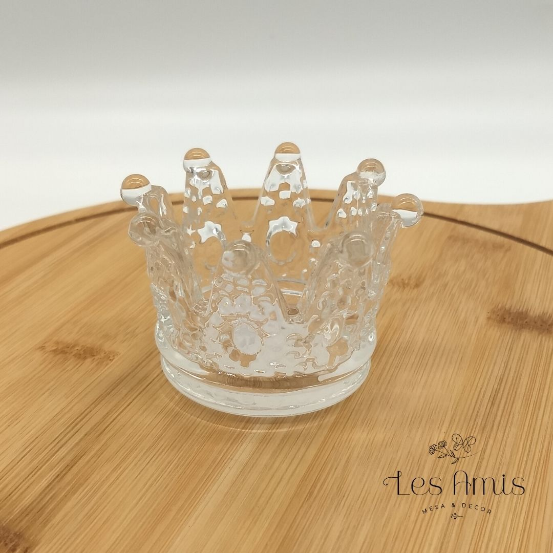 Mini Castiçal Coroa de Vidro