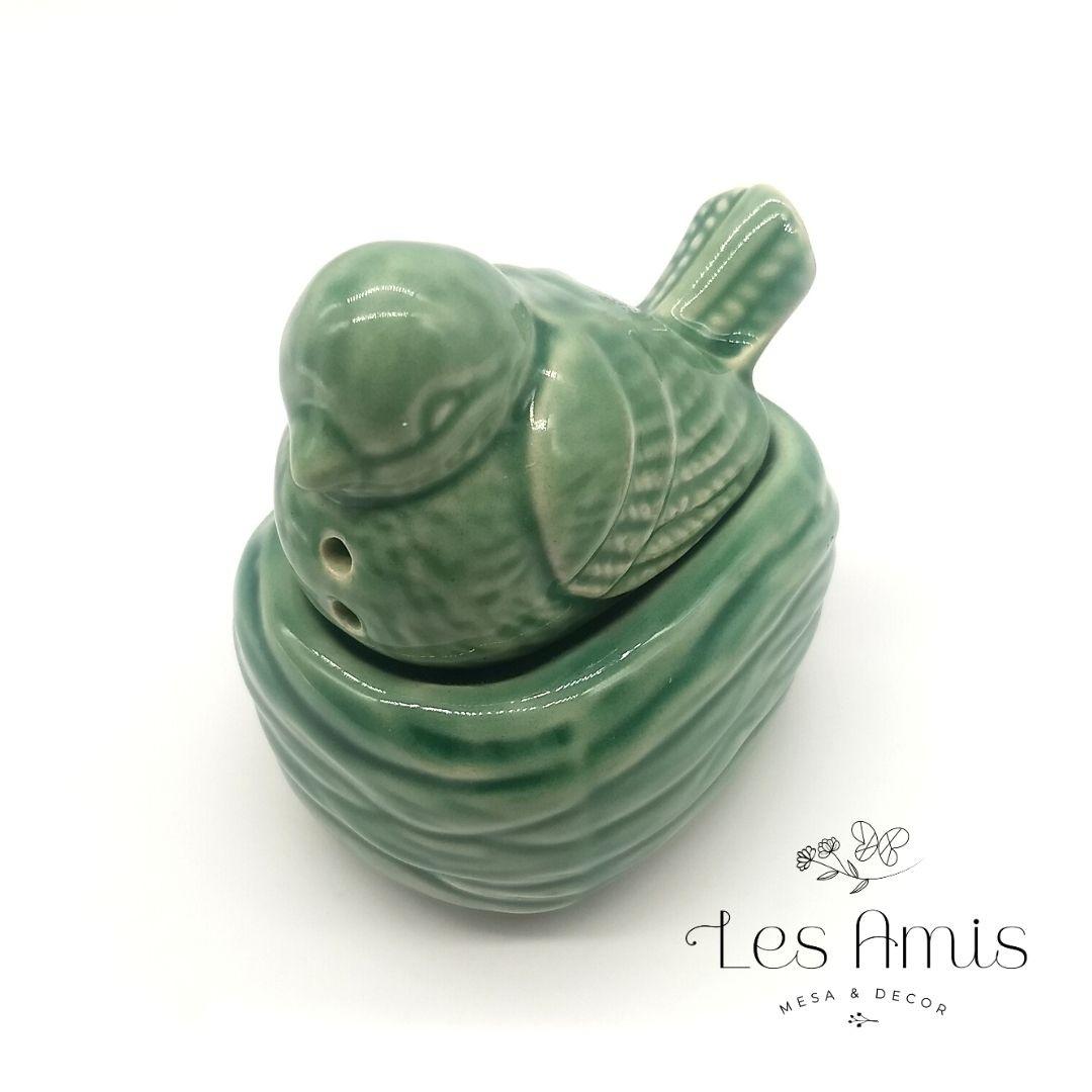 Passarinho Saleiro/Pimenteiro Cerâmica Verde