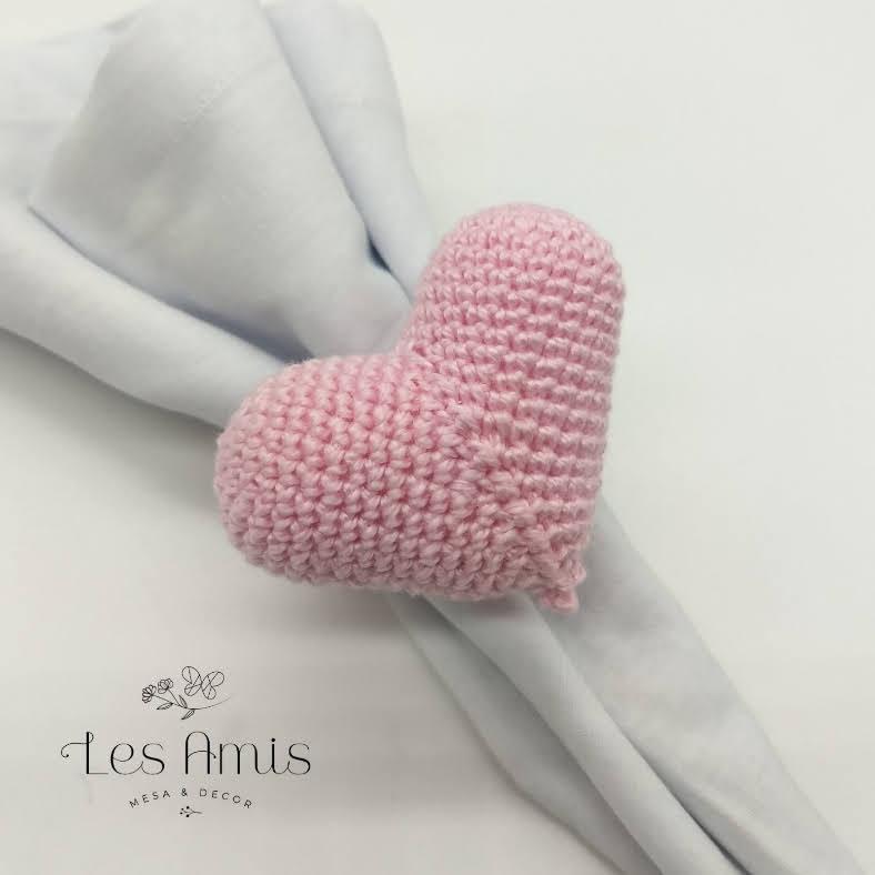 Porta Guardanapo Coração Crochê Rosa Baby