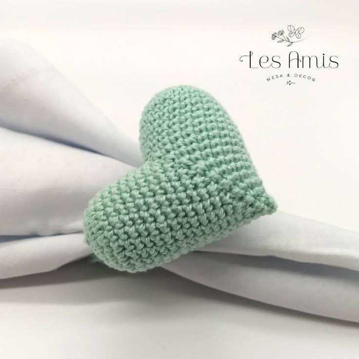 Porta Guardanapo Coração Crochê Verde Menta