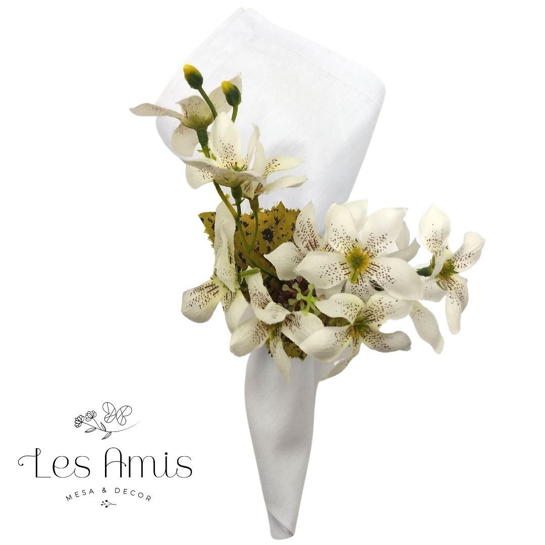 Porta Guardanapo Florzinhas Brancas