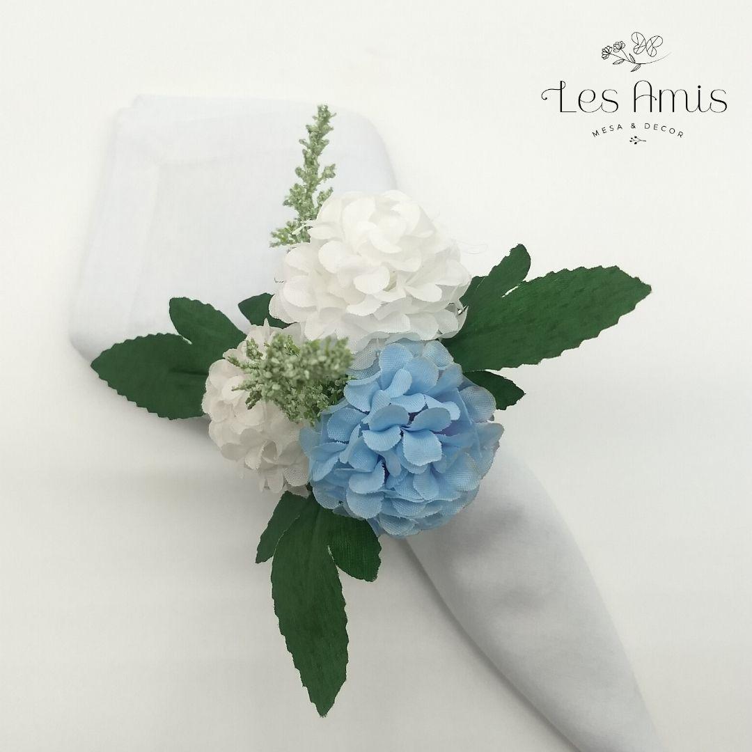 Porta Guardanapo Mini Hortênsias Brancas c/ Azul