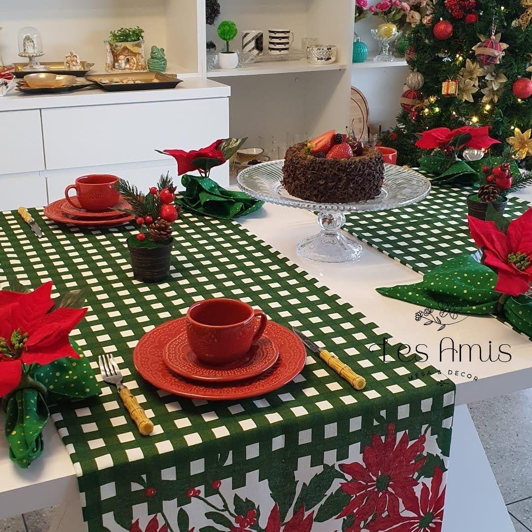Trilho Natal Easy Clean Xadrez Verde Flor Vermelha