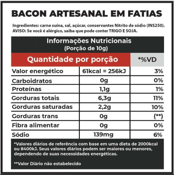 Bacon Artesanal 250g Fatiado  - Beth Bakery