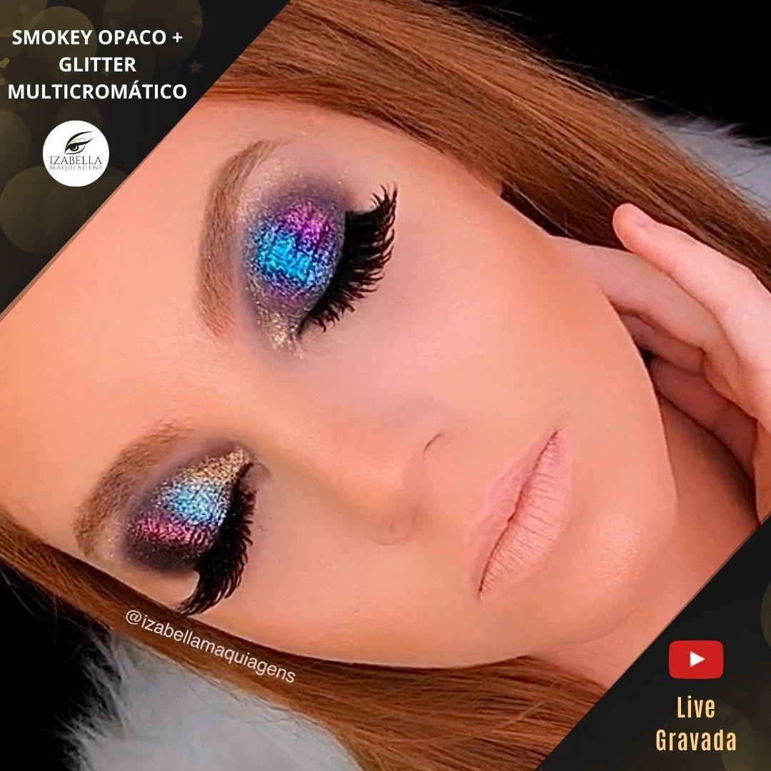 Curso Online - Smokey Eyes Matte+ Glitter Multicromático - (Live Gravada)