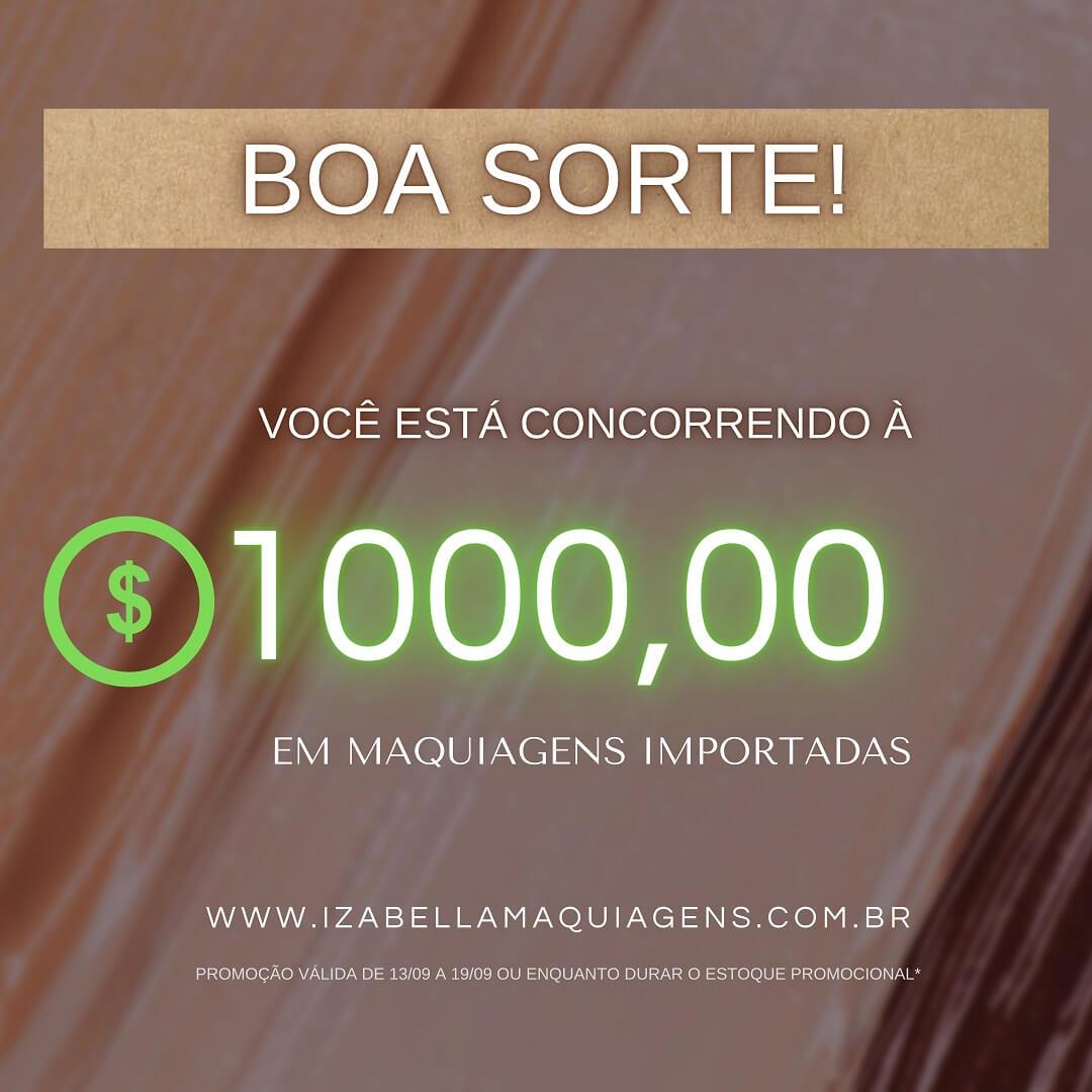 Parabéns! Você está concorrendo ao sorteio de R$ 1.000,00