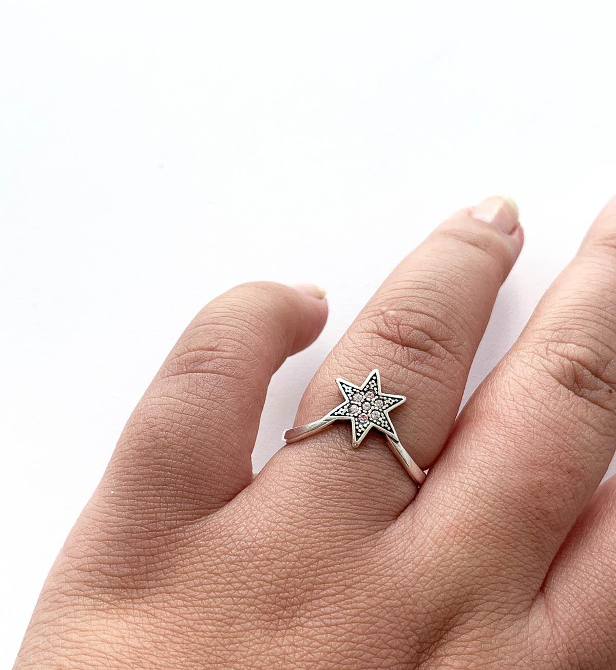Anel de Prata Estrela Boho Detalhe Zircônia