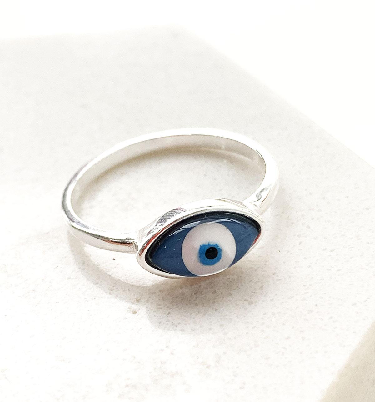 Anel de Prata Oval Olho Grego Azul Escuro