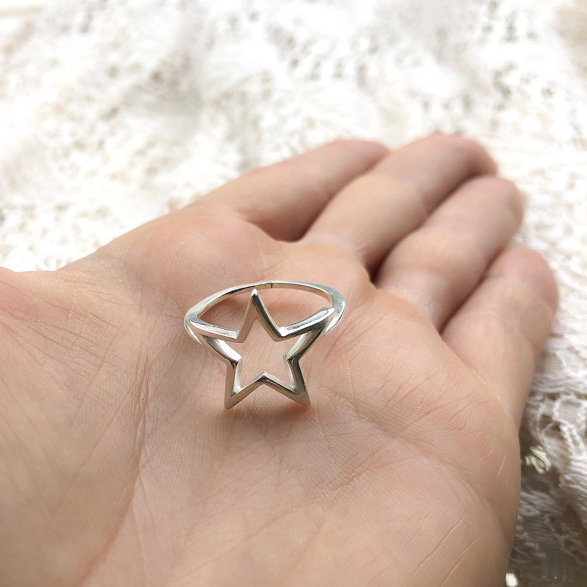 Anel Estrela Prata 925