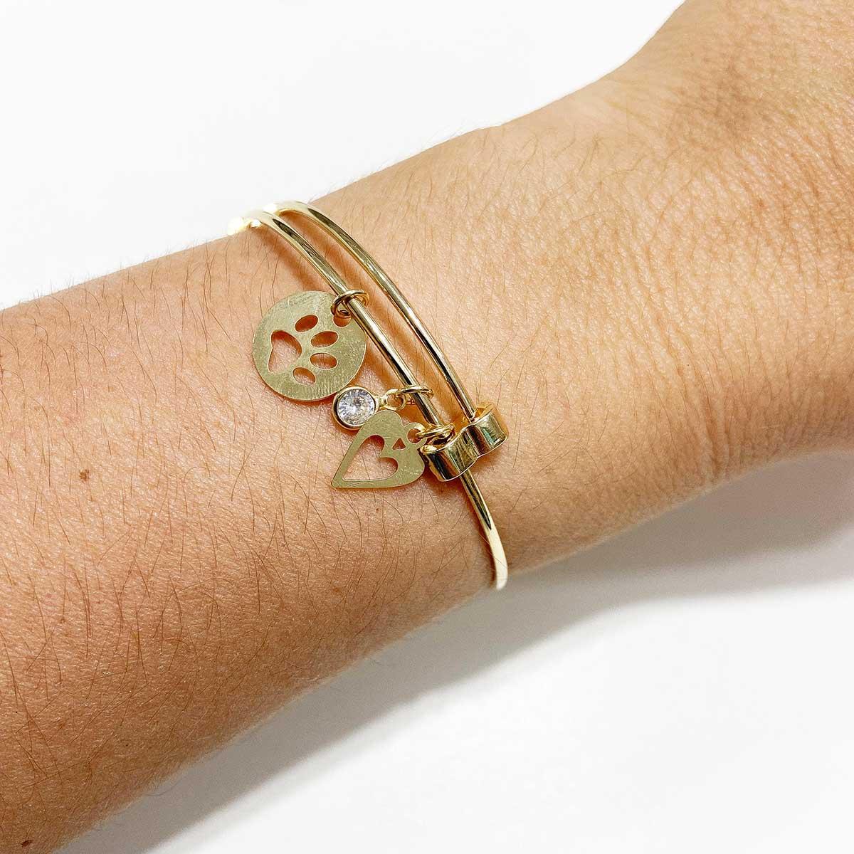 Bracelete Banhada a Ouro 18k Placa Patinha Coração e Ponto de Luz