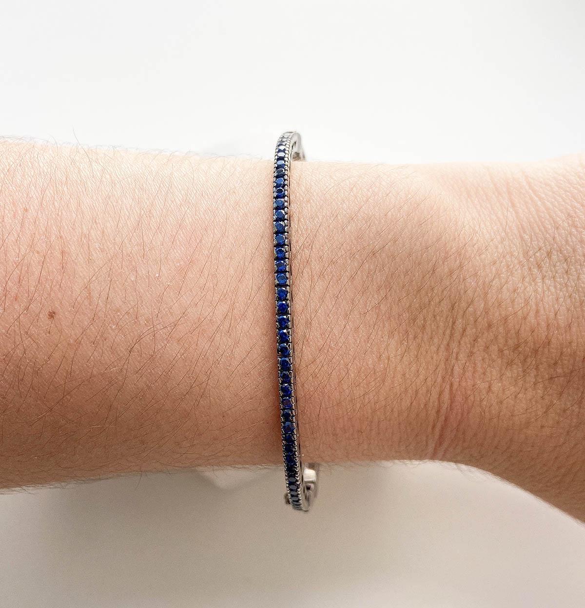 Bracelete Escrava Cravejada Strass Azul