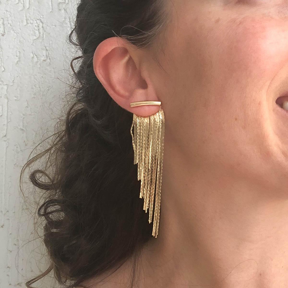 Brinco Aline Folheado a Ouro 18K Ear Jacket Franjas