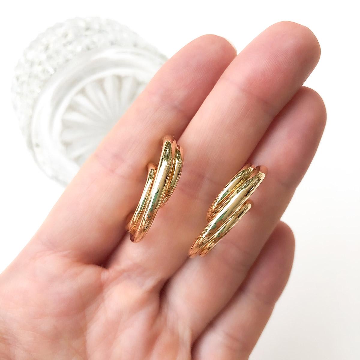Brinco Bijuteria Argola Camadas Dourado