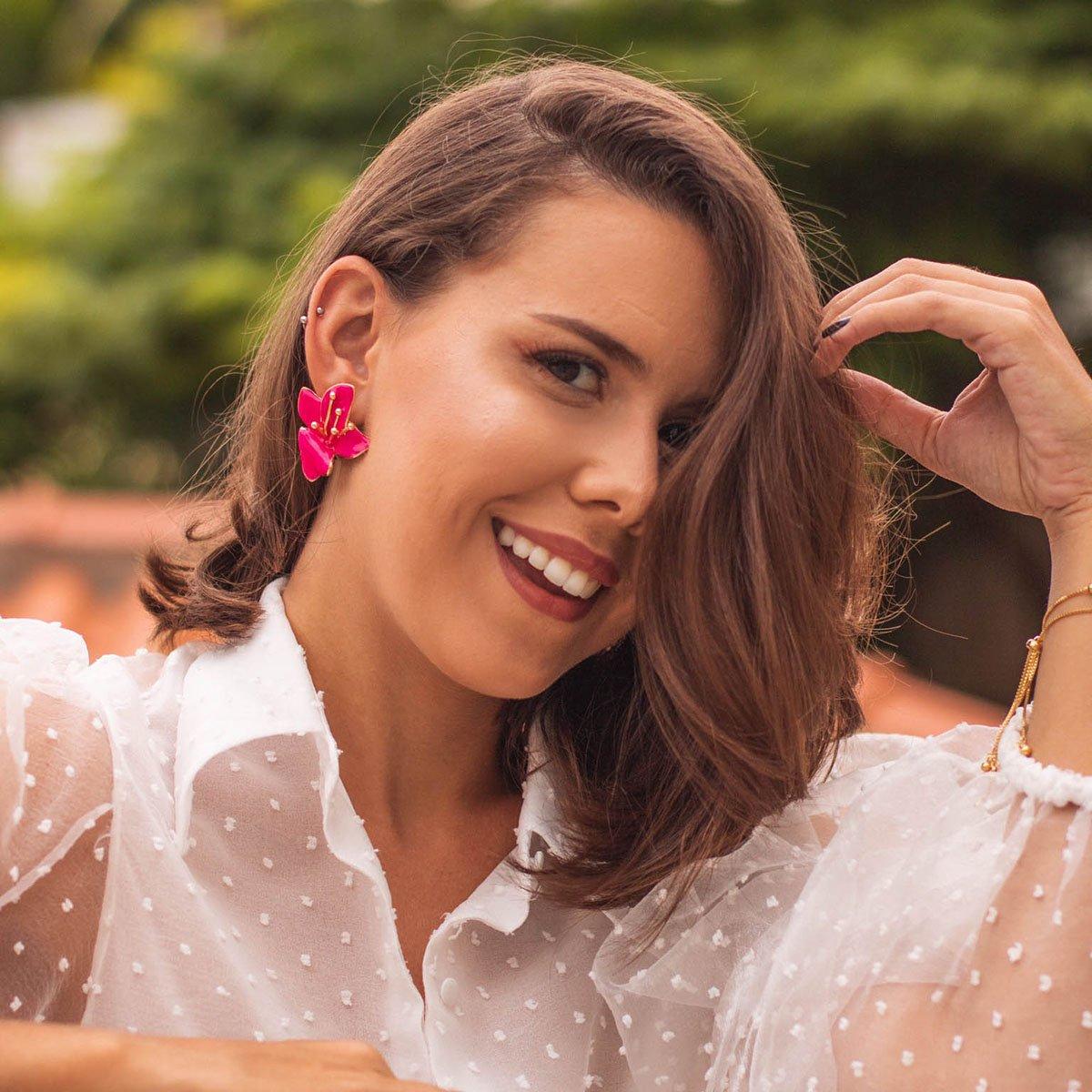Brinco Bijuteria Lírio Rosa