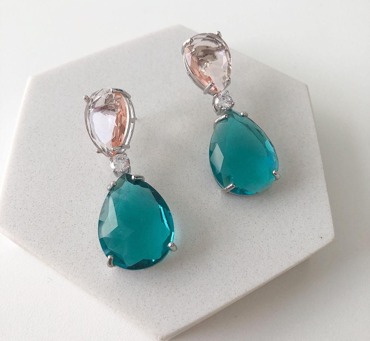 Brinco Bijuteria Pedra Gota Rosa e Azul Turquesa