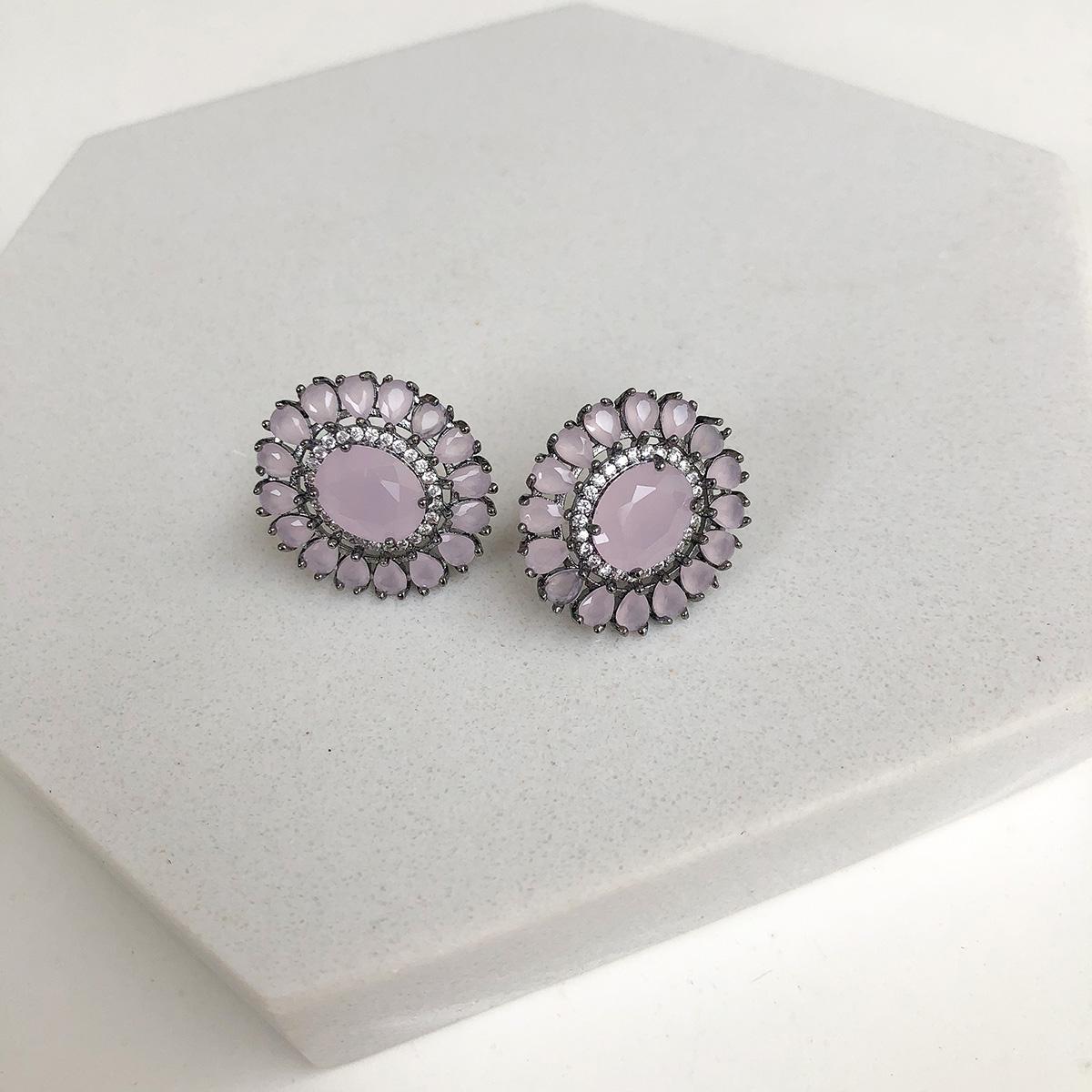 Brinco Bijuteria Redondo Detalhe Pedra Maior Rosa